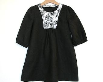 Girls clothes Girls black dress Linen dress Toddler girls dress Spring black linen dress