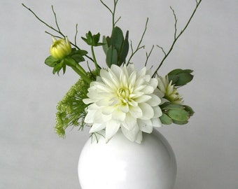 white vase, ceramic and wood vase, Ceramic Vase, Flower Vase, Bud Vase, Pottery Vase, Modern, Mother's Days Gift, Wedding Gift, small vase
