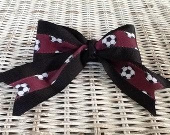Maroon Soccer Hair Bow - Girls Custom Ponytail Holder