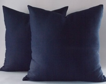 SET OF 2 Navy Linen Pillow Cover, Navy Blue Cushion Cover, Decorative Pillows, Pillow Cover, All sizes