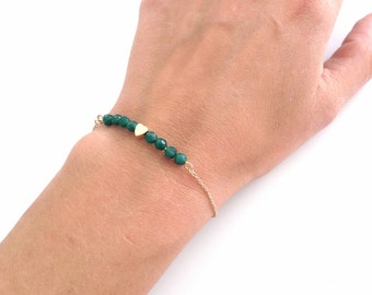 Bar bracelet - Beaded bar - tiny heart bracelet - Green beads - Dainty everyday jewelry