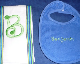 Burp cloth and bib gift set
