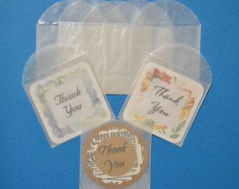 "25 - 2 1/8"" x 2 1/8"" Mini glassine envelopes for cards tags small tiny"