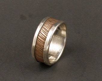 A Mans Wedding Organic Wedding Band Copper Silver Rustic Wedding Band   Handmade Jewelry Metalwork Ring