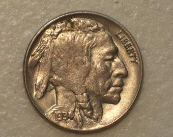 US 1934 Buffalo Nickel, AU - UNC coin