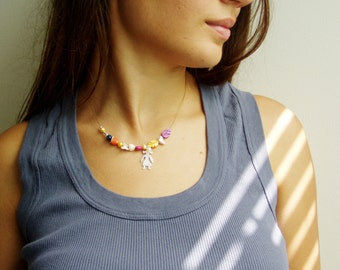 Multi color necklace, sterling silver and multi color gem stones necklace with girl pendant, heart and butterfly, lovely boho necklace