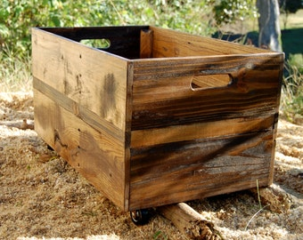 Large Rolling Crate-Toy Storage- Reclaimed Wood- Wooden Crate