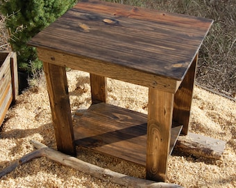 End Table/ Side Table/ Bedside Table/ Straight Legs/ Reclaim Wood