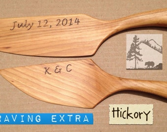 Hickory Wedding cake cutter & server, rustic chic barn farm country western southern vintage outdoor desert  beach  Eco-Friendly