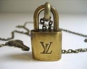 Louis Vuitton Vintage Padlock Necklace - LV Necklace - Vintage Vuitton - Brass Padlock And Key Jewelry