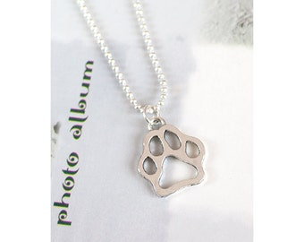 Unique Antique/Tibetan Silver Dog Paw Charm Pendant with 1.5mm Silver Plated Fine Ball Chain Necklace