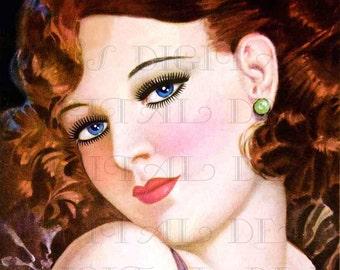 BLUE Eyed REDHEAD!  Art Deco Flapper VINTAGE Illustration. Art Deco Flapper Digital Download. Flapper Digital Print.