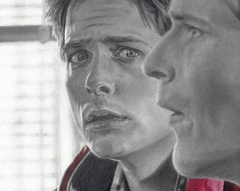 Drawing Print of Michael J. Fox as Marty McFly and Crispin Glover as George McFly in Back To The Future