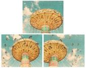 Set of 3 Carnival Photographs, Nursery Wall Art, Kid's Room Decor, Aqua Blue, Turquoise, Yellow, Gold, Colorful, Fine Art Photography Prints