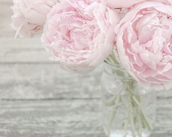 Large Wall Art, Flower Photograph, Pink Peonies in a Vase, Fine Art Photography Print, Shabby Chic, Nursery Art, Pastel Pink, Gray