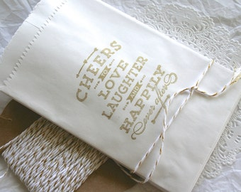 Metallic Gold WEDDING Favor Bags, Treat Bags, Candy Bags