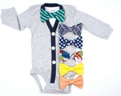 Gray Cardigan and Bow Tie Set - Navy/Green Baby Bow Tie Stripe or You Pick -cardigan onesies