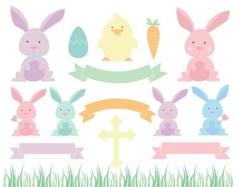 60% OFF SALE Easter Clipart  Eater Bunny Clip art  Animal Clip art  Digital Banners Grass CLipart