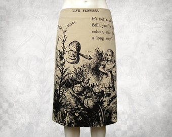 Alice in Wonderland 'Live Flowers' stretch cotton drill skirt