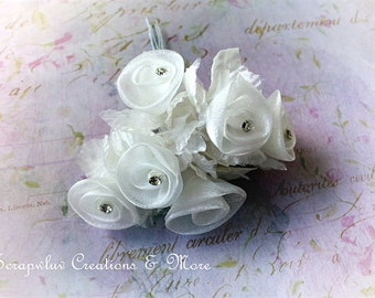Organza Flower with Bling center (pink)