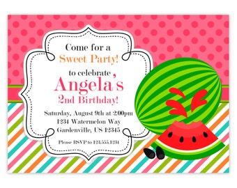 Watermelon Invitation - Pink Polka Dots, Orange Green Stripes, Summer Watermelon Personalized Birthday Party Invite - Digital Printable File