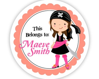 Name Label Stickers - Pink and Coral, Cute Brunette Pirate Girl Personalized Name Tag Stickers - Round Tags - Back to School Name Labels