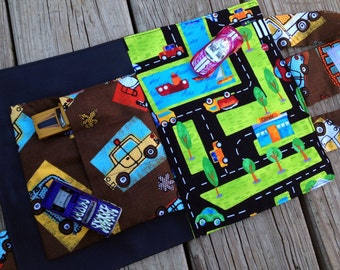 Car Activity Tote - comes with mini chalkboard and 3 cars