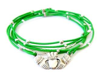 Irish Claddagh Sterling Silver Bracelet, Green Bracelet Set, Sterling Silver Claddagh Charm, Silver Bracelet, Irish Jewelry