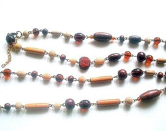 Extra Long Necklace Wood & Glass Beads Single Strand Brass Metal Strung 38 Inches Amber Root Beer Butterscotch Earth Tones