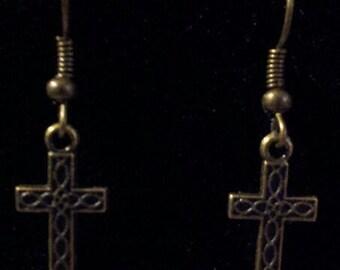 Bronze Cross Earrings II