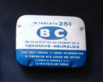 BC Headache Tabs - Vintage Collectible Advertising Medicinal Tin
