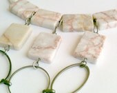 Marble Stone Choker, Redline Marble Statement Necklace, Handmade Choker