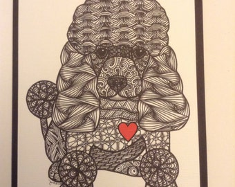Zentangle Inspired Poodle dog  Note Card, Poodle dog Print,  Love Card