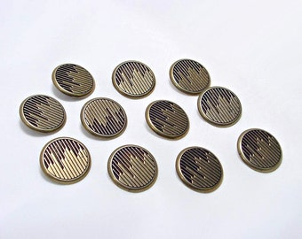 11 Funky Vintage Brass 1980s Buttons