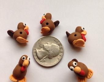 5 Polymer Clay Turkey Beads/Thanksgiving