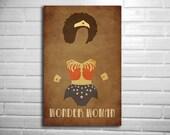 Wonder woman Natural Hair minimalist comic poster geekery art vintage