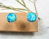 5mm cabochon Opal stud earrings set in Sterling silver ,casual earrings, silver post earrings.