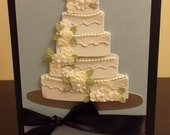 Wedding Cake Congratulations Card with Black Ribbon and White Envelope
