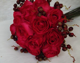 Artificial Vintage Style Red Rose Berry Bridal Hand Tied Bouquet