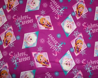 Frozen Sisters Forever Badges Cotton Fabric by the Yard