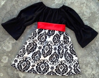 Baby girl Christmas outfit - girl Christmas dress - monogram baby girl dress - baby girl outfit for pictures - boutique damask black white