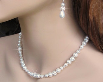 Pearl and Crystal Bridal Necklace, Pearl Rhinestone Necklace, Crystal and Pearl Necklace, Single Strand White or Ivory Pearl Wedding Jewelry