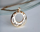 Circle Ornament Necklace,18K Gold Plated, Elegant, Diamond Cut Gold Plated Chain, Bridal Birthday Wedding Jewelry, Monogramming, Birthstone