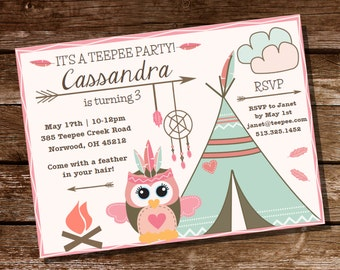 Owl Teepee Party - For a Girl - Instantly Downloadable and Editable File - Personalize at home with Adobe Reader