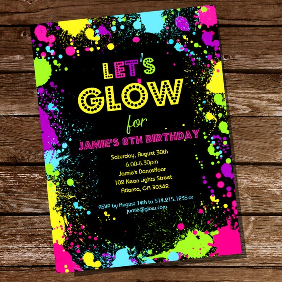 Neon Glow Party Theme Invitation - Instantly Downloadable and Editable File - Personalize at ...