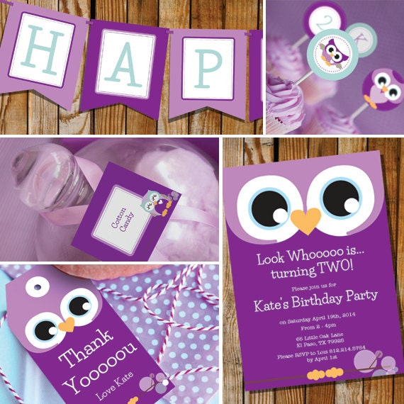 Owl Girl Birthday Party Purple & Teal Instantly