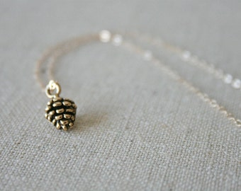Gold Pine Cone Necklace //