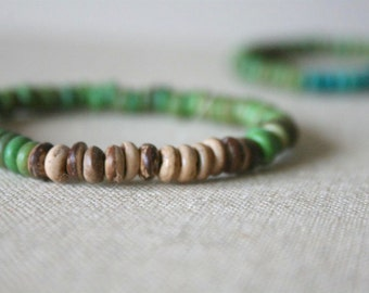 Grass & Sand // natural coconut wood // handmade bracelet