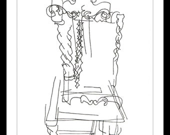"""Black and White Art Print: """"Dining Room Chair No. 2"""" - Pen and ink blind contour drawing of a stylized dining room chair. A5"""