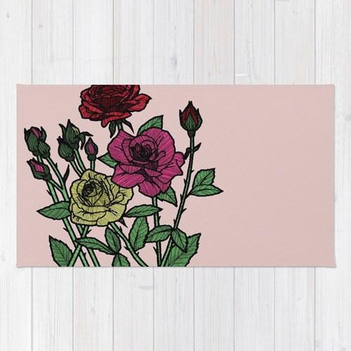 roses rug floral rug roses bath mat floral by